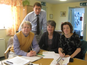 With (seated from left) Shropshire Councillors Nigel Hartin, Heather Kidd, Charlotte Barnes